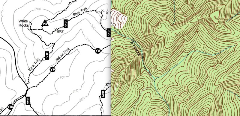 White Rocks and topographical map side by side.