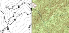 Rock Climbing Photo: White Rocks and topographical map side by side.