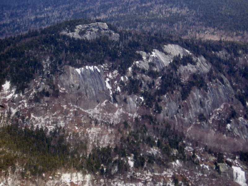 """Table Rock (on top) and the slabs on the East side of the notch.  The 3 slabs on the right are believed to be the slabs of the route """"Home Sick"""""""
