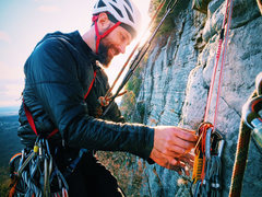 Rock Climbing Photo: Andrew Kontola at the Han's Puss change over a...