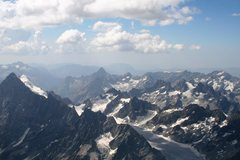 Rock Climbing Photo: Glacier Blanc upper basin with Barre des Ecrins on...