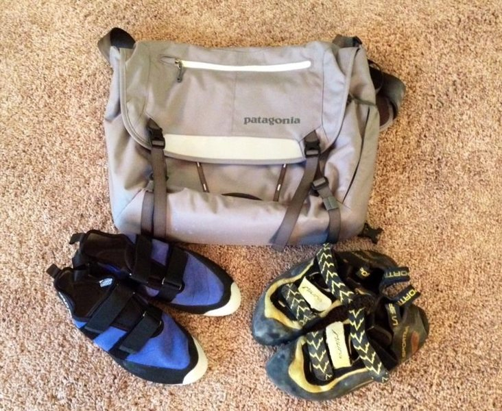 Miuras, Mad Rock shoes, Messenger bag