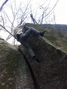 Rock Climbing Photo: Miles at the top of Point of No Return!