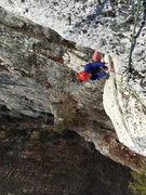 Rock Climbing Photo: Connie stares down the crux of P2 of Nurse's A...