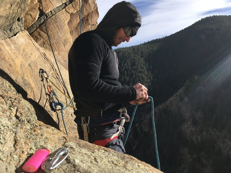 Hanging out at the belay station on a nice ledge.
