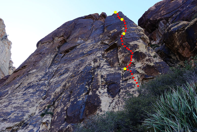 Rock Climbing Photo: Pro Choice: route topo. Belays marked with yellow ...