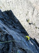 Rock Climbing Photo: Eric Holland on P6 with the shadow of the Rocket b...