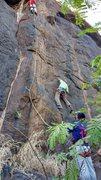 Rock Climbing Photo: CC leading Route 2