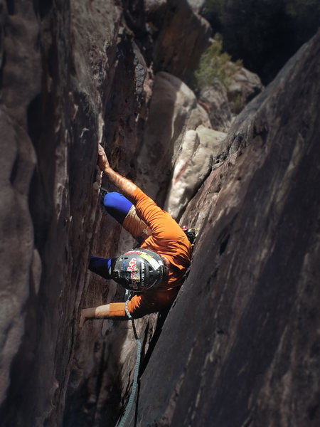 Rock Climbing Photo: The narrowing and fun chimney on the first half of...