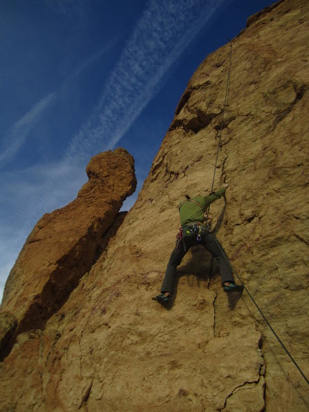 Rock Climbing Photo: Tyler doing prep work on pitch 4.  He eventually r...