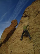 Rock Climbing Photo: Tyler doing prep work on pitch 4.  He eventually r...