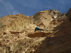 Rock Climbing Photo: Tyler Tanhoff starts up the first pitch of Jim Cli...