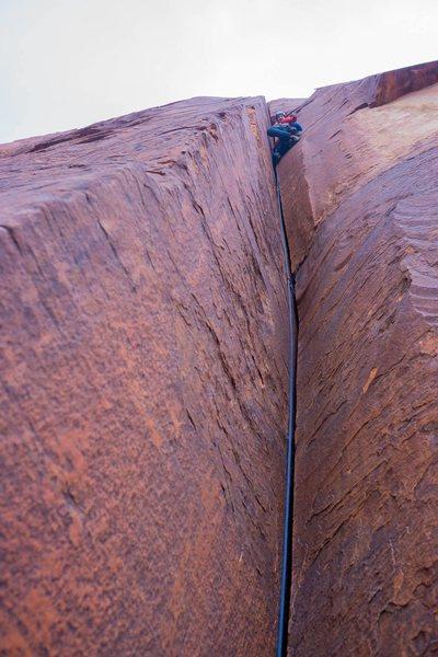 Rock Climbing Photo: Leading the money P3. Pic: Brian Prince