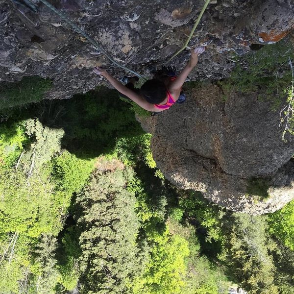 Rock Climbing Photo: Looking down from the second pitch anchors