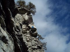 Unknown climber going for the P2 crux as seen from the limelight belay