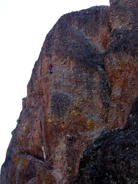 """Unknown climber follows """"Salathe Route (very old school 5.6)"""" on THE HAND. Note the Lodestone in lower middle."""