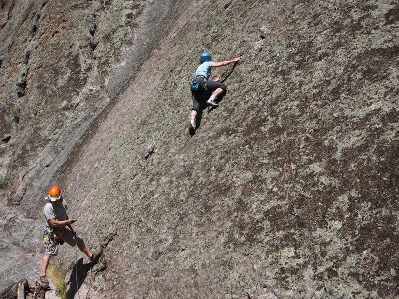 Sheila Matz, belayed by Larry Arthur, starts up Corona