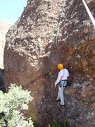 """Rock Climbing Photo: Studying the """"groove / Water streak"""" jus..."""
