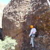 """Studying the """"groove / Water streak"""" just below the crux of """"Once Around the Back Side"""""""