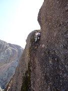 Rock Climbing Photo: P2 of Tilting Terrace (Larry Arthur photo)