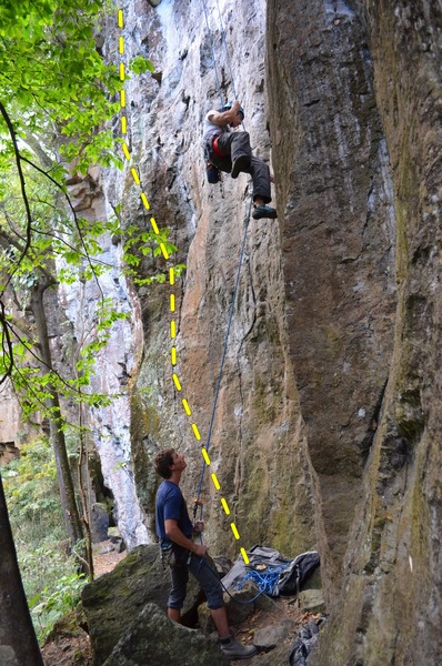 "Climber on the picture is on ""aquella"""