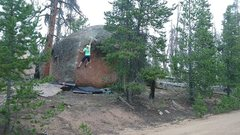 Rock Climbing Photo: The crux. There is a slightly higher foot for the ...