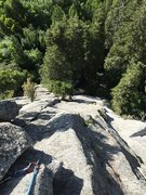 Rock Climbing Photo: looking down from the anchors at the top of pitch ...