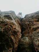 Rock Climbing Photo: Looking up and cleaning up cow crack.