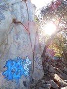 Rock Climbing Photo: The Y Crack (5.7), Dixon Lake