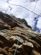 Rock Climbing Photo: Pitch 3 Gently overhanging face climbing goodness ...