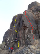 Kalavantini on the left (yellow) and Too Close Too Far on the right (red)