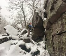 Rock Climbing Photo: Small boulder left of purple tower.
