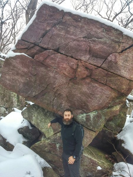 Ben Kimmel for size comparison. Cool looking boulder.