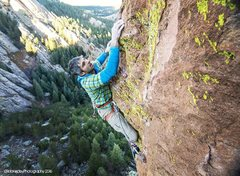 Rock Climbing Photo: Shaun Reed just above the upper crux.