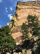 Thulsa Doom takes the line between the trees, through two roofs early on then follows the arete above.