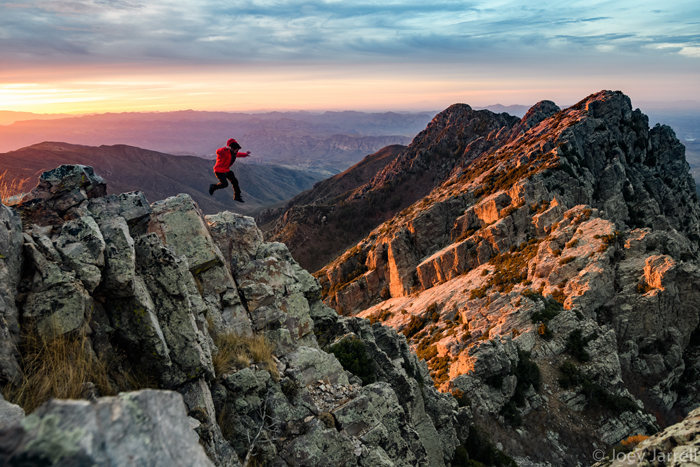 Excellent sunrises on this climb, if you&#39;re willing to get an alpine start.<br> <br> This is Jack Lester on Brown&#39;s peak with the other 3 peaks to his right!