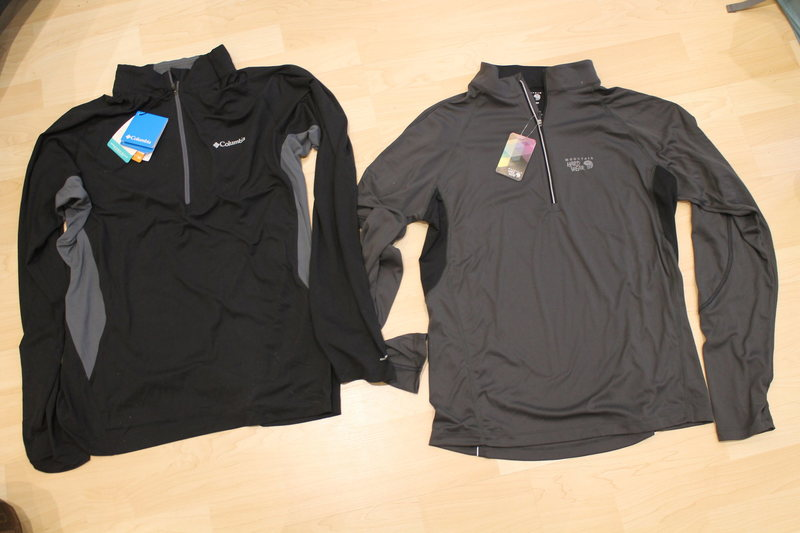 New Comlumbia Freeze Degree 1/2 zip Large 40$ (retail 75$) SOLD<br> <br> New Mountain Hardware Elmoro Half zip Medium, dropped to 28$ (retail 70$)<br> <br> Both are stretch.<br>