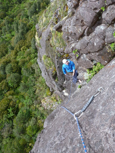 Rock Climbing Photo: Exposed belay at top of pitch 3, Epic(21)
