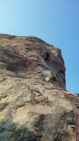 Rock Climbing Photo: Climbing the Thumb at Horseman center in Apple Val...