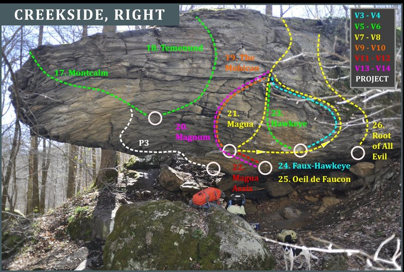 Creekside Right<br> Corner Rock Bouldering Guide, 2016