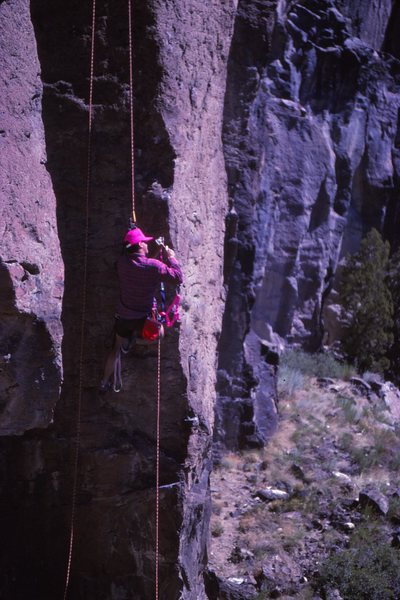 Mike Schillaci hand drilling Scandinavian Airlines before the first ascent.