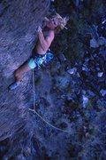 Rock Climbing Photo: Tom MacFarlane on the first ascent, 1989