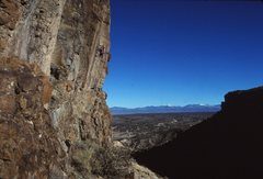 Rock Climbing Photo: Peter Gram on Hey, Is There Anybody In There, 1990