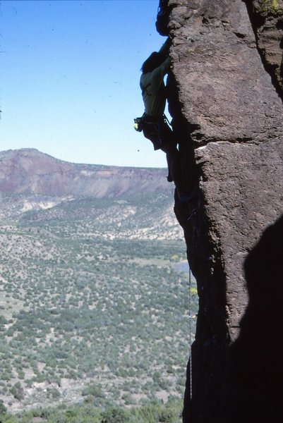 Mike on the first ascent, 5/90