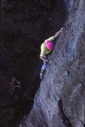 Rock Climbing Photo: Tom Henricksen on an early ascent, 5/90
