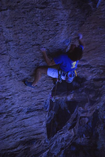 Brian Riepe on the first ascent of Flesh Eating Gnats, 5/89