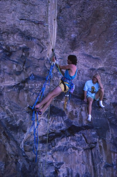 Rock Climbing Photo: Brian Riepe and Tom MacFarlane hand drilling Flesh...
