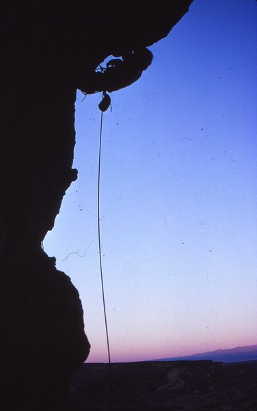Chris Vandiver on the first ascent of Overture, 11/89