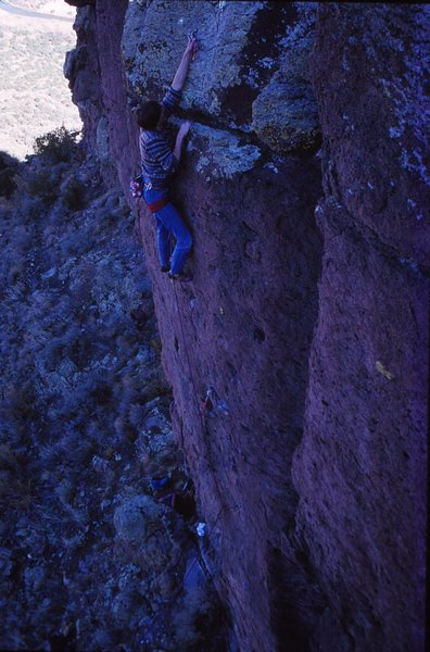 Rick Smith on the first ascent of Huecos Rancheros, 11/89