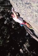 Rock Climbing Photo: Greg Pirkl on Holy Wars, 1989